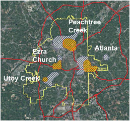 The four major battlefields within modern Atlanta's city limits