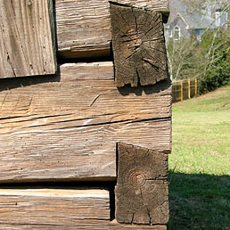 Half-dovetail construction detail, north corncrib