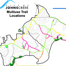 Johns Creek Trail Locations map