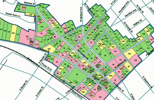 GIS map of the entire historic downtown showing district status (contributing/non-contributing) for each property