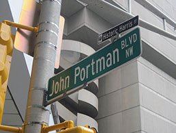 Formerly Harris Street, now John Portman Boulevard in downtown Atlanta