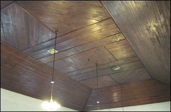Beadboard sanctuary ceiling