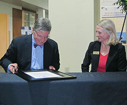 Deed of Gift signing by MHA Director Ray Buday and KSU Archives Associate Director Dr. Tamara Livingston, 11/14/2012