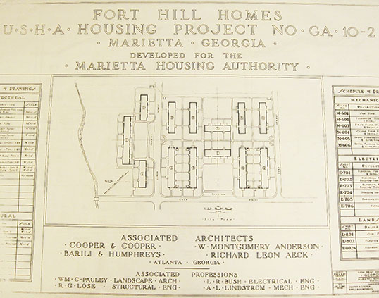 Original plans for Fort Hill Homes, a U.S. Housing Authority public housing project, August 7, 1940